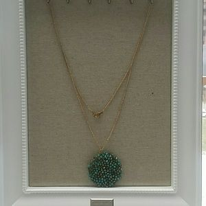 Jewelry - Gold plated and turquoise bead necklace